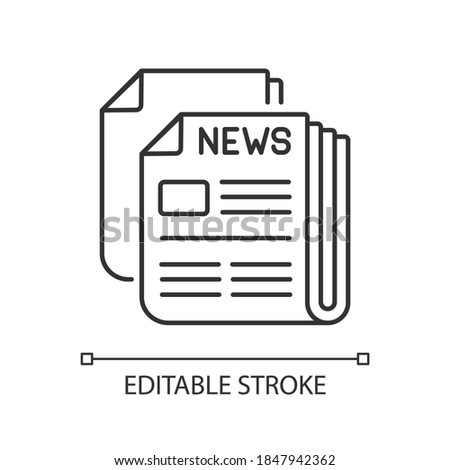 Newspaper linear icon. Mass media, postal service, journalism thin line customizable illustration. Daily paper delivery. Contour symbol. Vector isolated outline drawing. Editable stroke