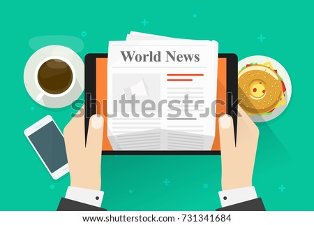 Newspaper on tablet vector illustration, flat cartoon person hands reading world news magazine on electronic device, idea or coffee break or lunch, business breakfast table top view