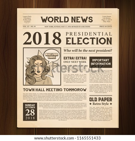 Newspaper page 2018 presidential election world news article realistic vintage style  against dark wood background vector illustration