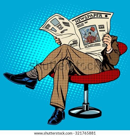 newspaper reading man pop art