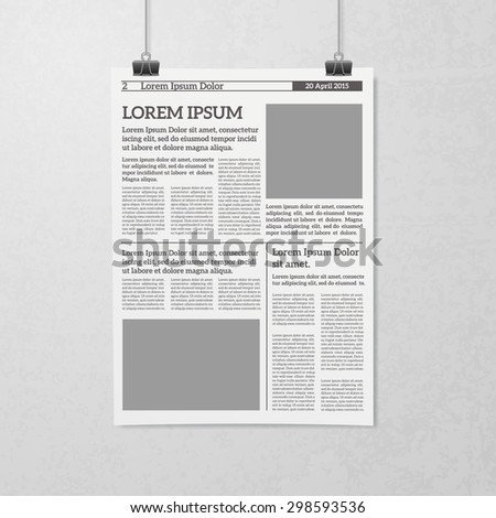newspaper sheet hanging on