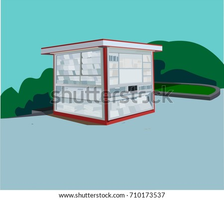 Newspaper stand vector illustration