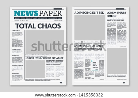 Newspaper template. Column articles newsprint background. Pressed paper newspaper printed sheets with headline. Vector editorial print layout