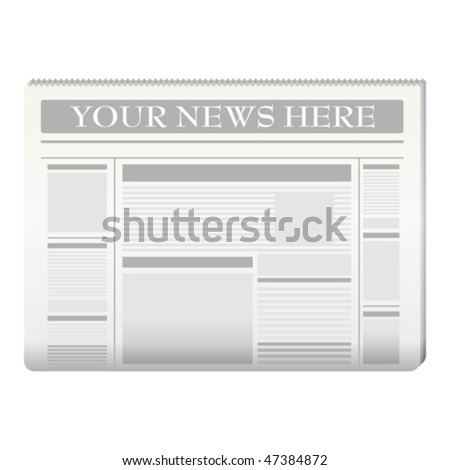 create your own newspaper template - newspaper template to your own news over white stock
