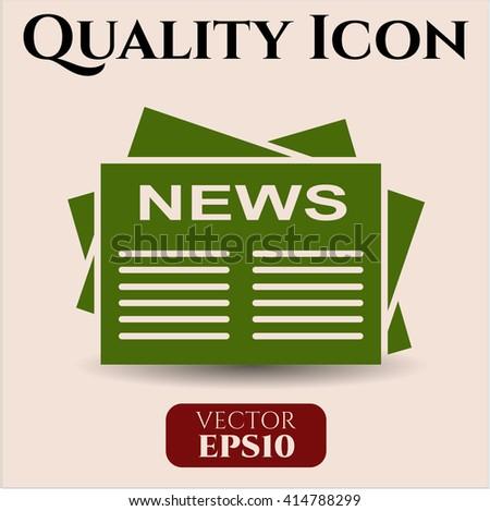 Newspaper vector icon or symbol
