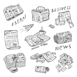 Newspaper vector icons. Newspapers set: stacks and rolls of newspapers and magazines - Hand Drawn Doodles illustration