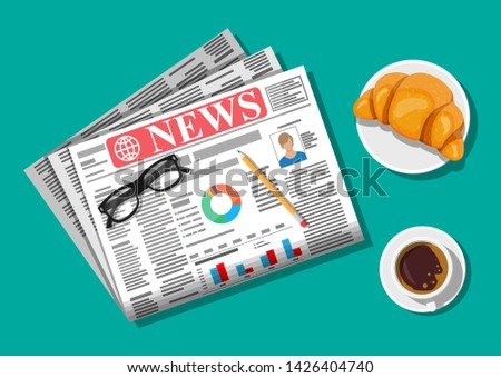 Newspaper with croissant, cup of coffee, pencil. Morning business elements, breakfast, coffeebreak. Pages with headlines, images, quotes, text and articles. Vector illustration flat style