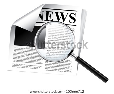 Newspaper with magnifier - stock vector