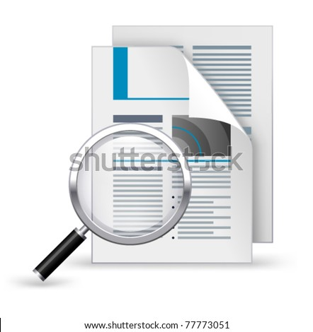 Newspaper with magnifying glass on a white background