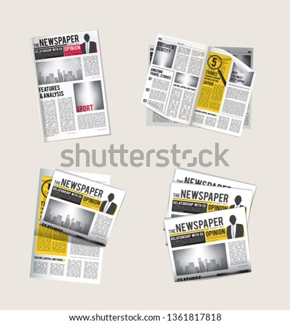 Newspapers icons. Journalist collection of reading daily news with headlines tabloid vector symbols of newspaper