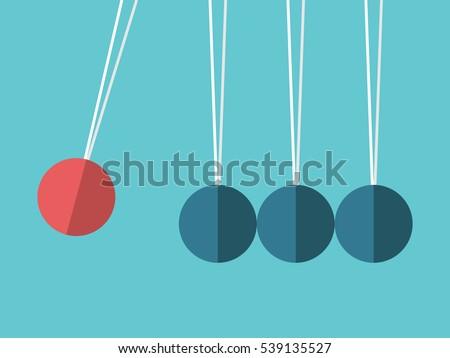 newton's cradle red sphere