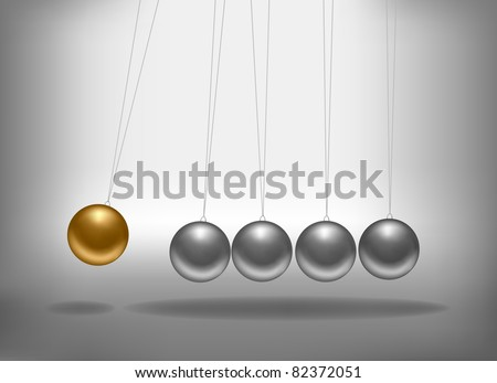 Newton's cradle with a gold sphere. Concept of teamwork. Vector illustration.
