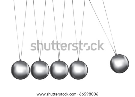 newtons cradle silver balls viewed from the front