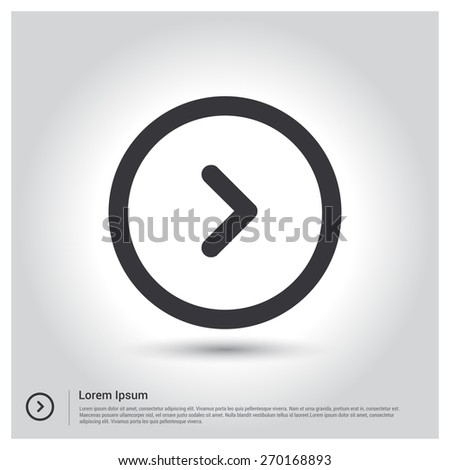 Next Arrow circle icon Vector illustration for web site, mobile application. Simple flat metro design style. Outline Icon. Flat design style