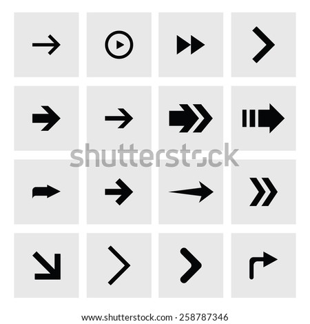 Next arrow icon set. simple pictogram minimal, flat, solid, mono, monochrome, plain, contemporary style. Vector illustration web internet design elements #258787346