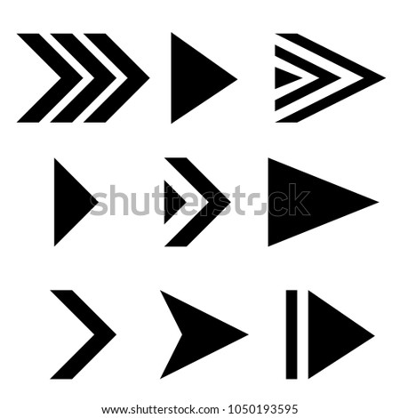 Next arrows. Black flat signs. Vector illustration isolated on white background