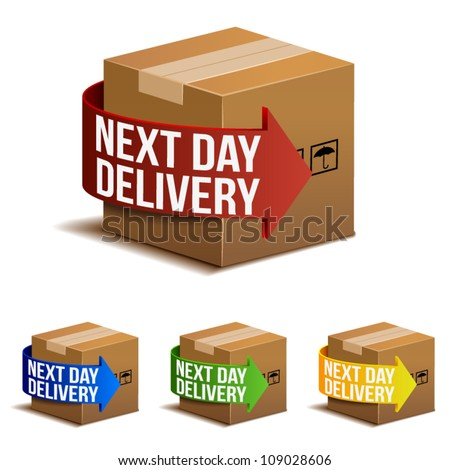 Next day delivery icon set in different colors.