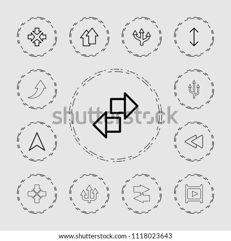Next icon. collection of 13 next outline icons such as move, arrow, navigation arrow, play back, arrow up. editable next icons for web and mobile.