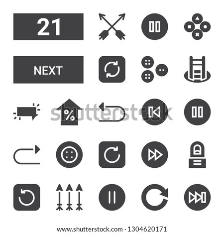next icon set. Collection of 21 filled next icons included Forwards, Refresh, Pause, Arrows, Regeneration, Fast forward, Button, Redo, Back, Undo, Arrow, Shortcut, Buttons