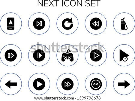 next icon set. 15 filled next icons.  Collection Of - Arrow, Skip, Next, Play, Redo, Backward, Back, Forwards, Button