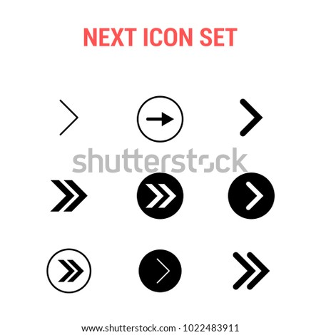 Next icon set , Right arrow symbol, vector illustration. Modern flat design isolated