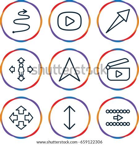 Next icons set. set of 9 next outline icons such as man move, navigation arrow, arrow, curved arrow, play
