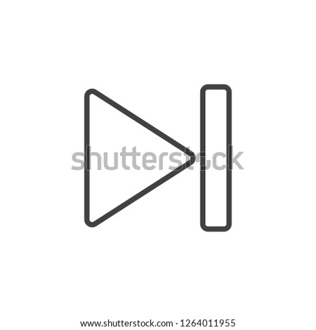 Next play button outline icon. linear style sign for mobile concept and web design. next button simple line vector icon. Symbol, logo illustration. Pixel perfect vector graphics
