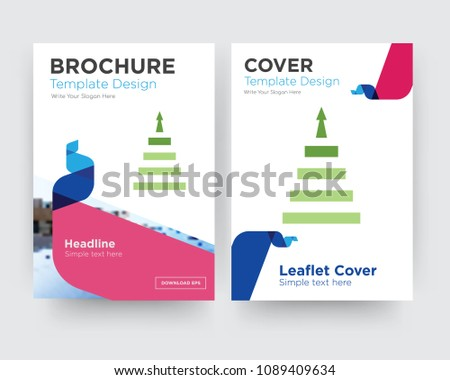 next steps brochure flyer design template with abstract photo background, minimalist trend business corporate roll up or annual report