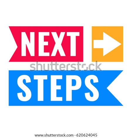 Next steps. Vector flat illustration on white background.