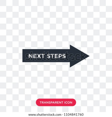 next steps vector icon isolated on transparent background, next steps logo concept