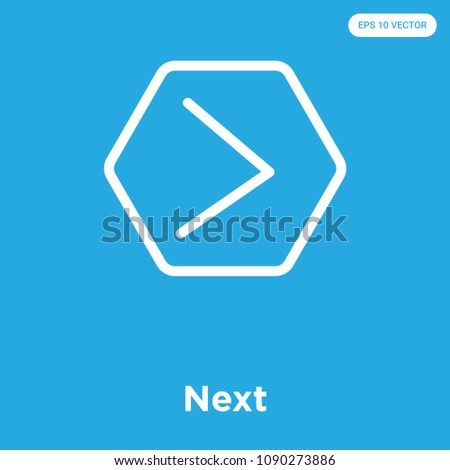 Next vector icon isolated on blue background, sign and symbol, next vector iconic concept