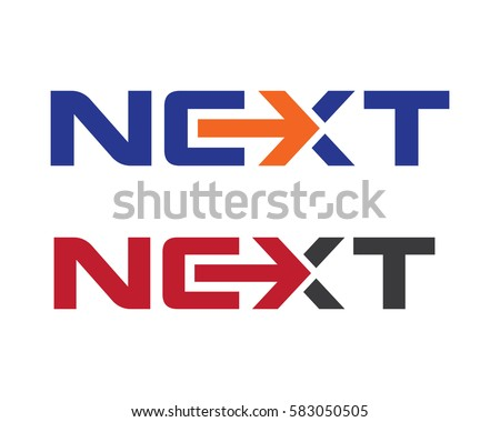 Next word with arrow Letter Logo Template