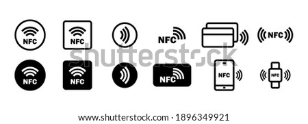 Nfc icon set. Wireless payment. Contactless cashless society icon. Vector on isolated white background. EPS 10