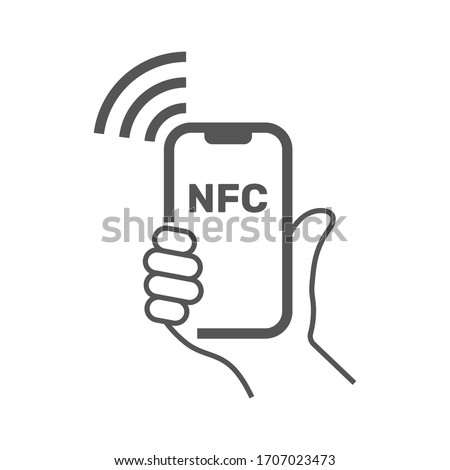 NFC illustration. Mobile payment. NFC smart phone concept icon. Vector Illustration. Hold Smartphone with wave nfc in hand. Vector Illustration. EPS 10