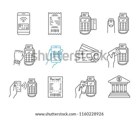 NFC payment linear icons set. Electronic money. Cashless and contactless payments. Digital purchase. Online banking. Thin line contour symbols. Isolated vector outline illustrations. Editable stroke
