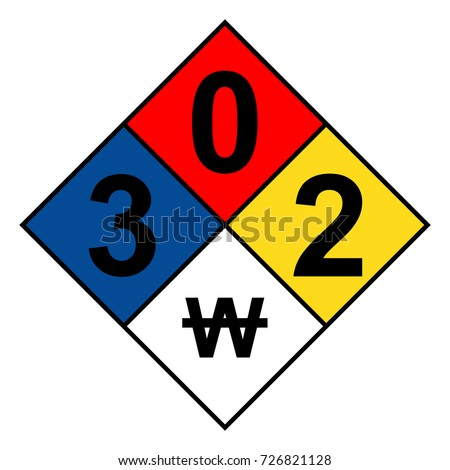 NFPA 704 diamond 3-0-2-W sign, vector illustration.