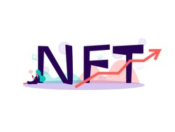 NFT Concept, non refundable token. Future of art collectibles. Blockchain technology. Illustration in flat hand drawn style.