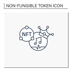 NFT music line icon. Music format with non fungible token coin.Represent digital files. Used to commodify digital creations. Cryptocurrency concept. Isolated vector illustration.Editable stroke