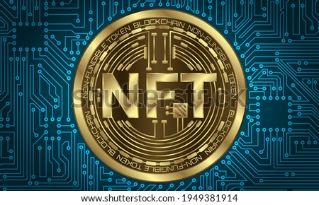 NFT non-fungible tokens for art and collectables, blockchain technology to create unique digital items stock photo