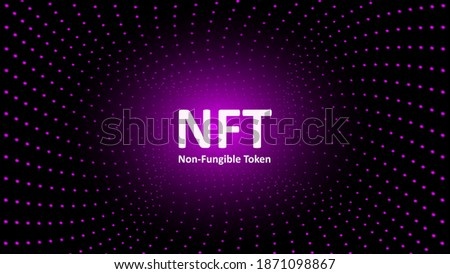 NFT nonfungible tokens text in the center of spiral of glowing dots on dark background. Pay for unique collectibles in games or art. For banner or news. Vector illustration.