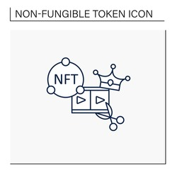 NFT video clips line icon.Clips with non fungible token coin. Selling.Represent digital files. Used to commodify digital creations. Cryptocurrency concept. Isolated vector illustration.Editable stroke