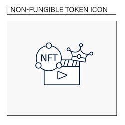 NFT video line icon. Video file format with non fungible token coin.Represent digital files. Used to commodify digital creations. Cryptocurrency concept. Isolated vector illustration.Editable stroke