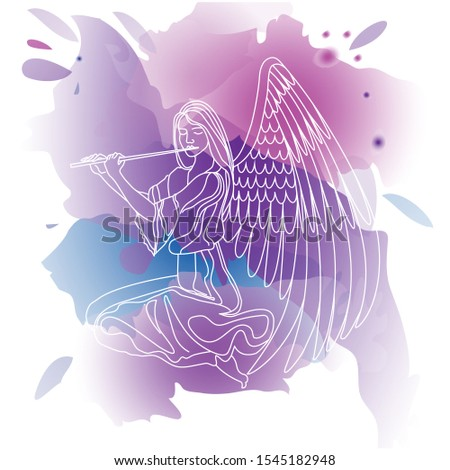 ngel girl playing the flute.line drawing. vector watercolor background, lilac and pink colors. vector illustration. EPS 10. Foto stock ©