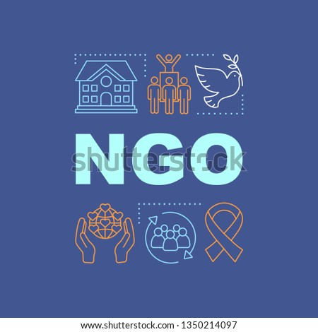 NGO word concepts banner. Non governmental, nonprofit organization. Charitable foundation. Presentation, website. Isolated lettering typography idea with linear icons. Vector outline illustration