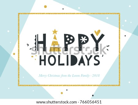 nHappy Holidays and Merry Christmas background. Greeting card with bold typographic design, golden glitter frame and elements. Horizontal template. Blue and black.