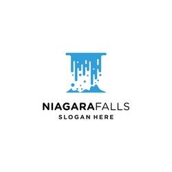 Niagara falls logo, waterfall modern symbol, very elegant for a company.