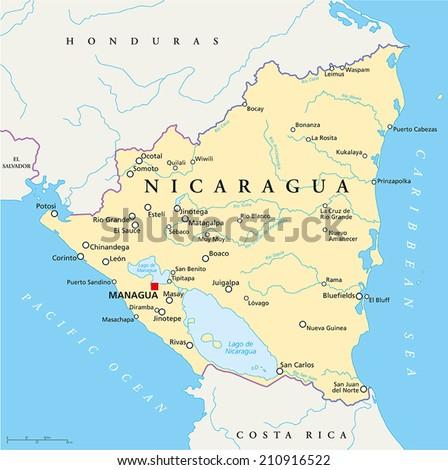 Nicaragua Capital Map Nicaragua Political Map With