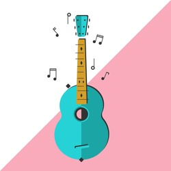 Nice acoustic guitar vector illustration. Colorful guitar and music notes art