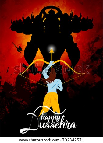 nice and beautiful abstract for Happy Dussehra with nice and creative illustration of Lord Ram and Ravan final battle in a background.