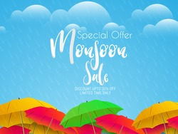 nice and beautiful sale abstract or poster for Monsoon Huge Offer or Sale with creative design illustration.
